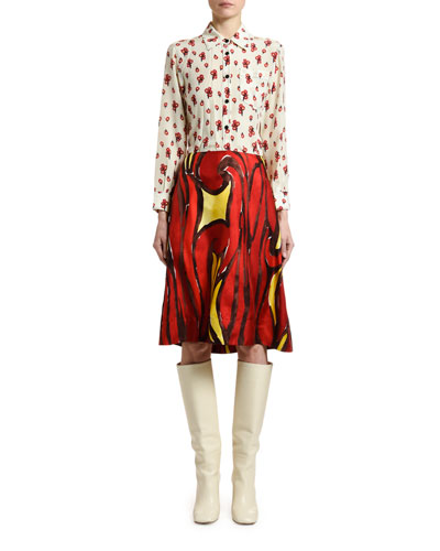 Peace Print Silk Button-Front Blouse and Matching Items