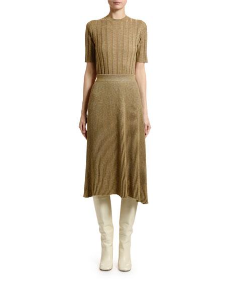 Marni Short-Sleeve Shimmer Rib-Knit Sweater