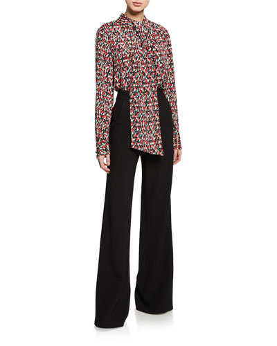 Stretch-Viscose Blend Crepe Flare Pants w/ Side Panel and Matching Items