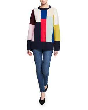 a807c76782af92 St. John Collection Patchwork Wool/Cashmere High-Low Sweater w/-Sleeve