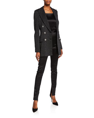 5863210d60b St. John Collection Evening Paillette Pinstripe Double-Breasted  Notch-Collar Jacket Satin Zip