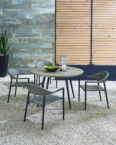 Outdoor Dining Table with Aluminum Top and Matching Items