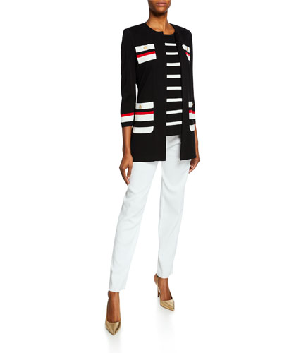 Striped Long Jacket with Button Detail and Matching Items