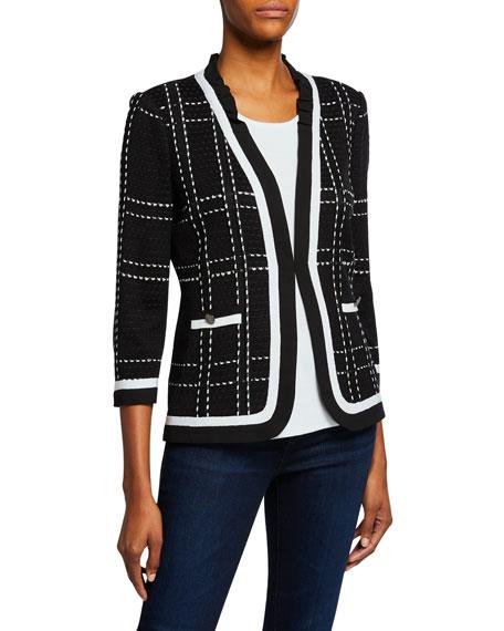 Misook 3/4-Sleeve Short Plaid Jacket with Striped Trim