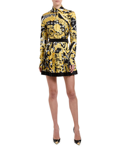 Versace Brocade-Print Button-Front Blouse
