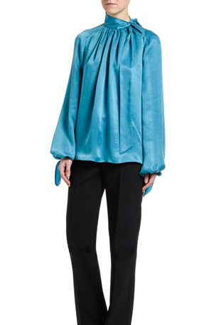 Off-White Flowing Satin Full-Sleeve Tie-Neck Blouse, Blue Double-Layer Pants