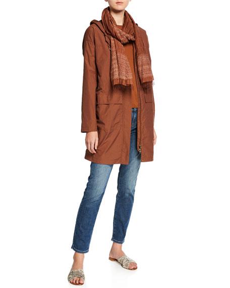 Eileen Fisher Organic Cotton/Nylon Hooded Long Jacket