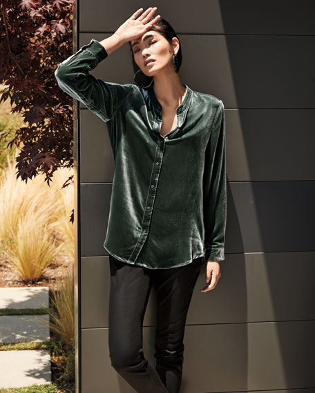 Eileen Fisher Button-Front Long-Sleeve Velvet Shirt