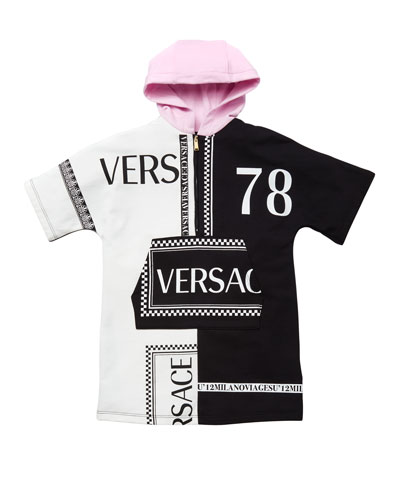 Girl's Hooded Colorblock Logo Sweatshirt Dress  Size 4-6  and Matching Items