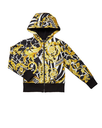 Boy's Barocco Print Hooded Zip-Up Jacket  Size 4-6  and Matching Items