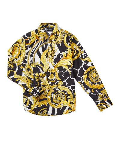 Boy's Barocco Print Dress Shirt  Size 4-6  and Matching Items