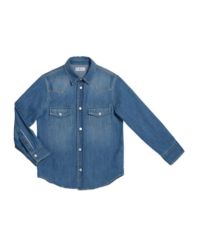 Boy's Long-Sleeve Button-Down Denim Shirt  Size 4-6 and Matching Items