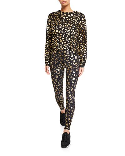 Cheetah Foil Printed Crewneck Long-Sleeve T-Shirt and Matching Items