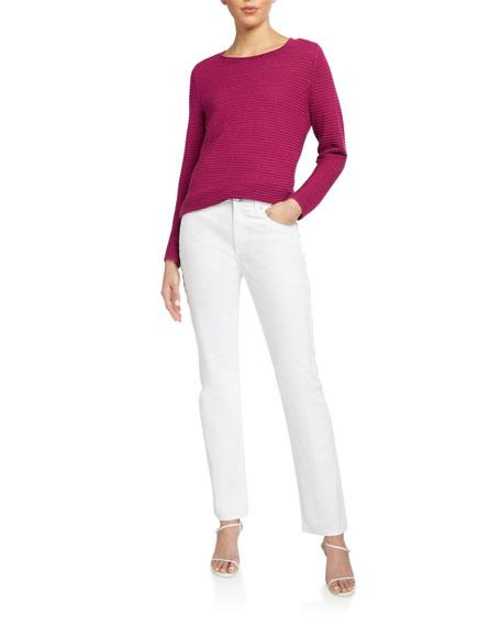 Eileen Fisher Organic Linen/Cotton Jewel-Neck Long-Sleeve Sweater