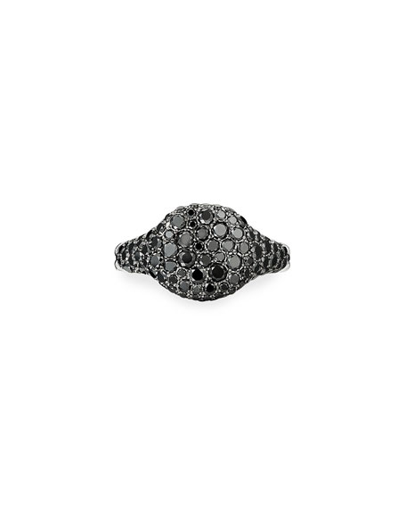 David Yurman Mini Chevron Pave Black Diamond Pinky Ring in 18k White Gold, Size 3.5