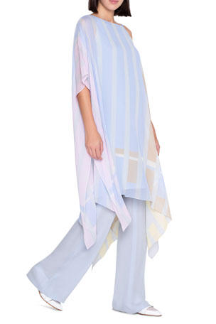 Akris Striped Silk Georgette One-Shoulder Caftan Farida Fly Front Full-Leg Silk Georgette Pants