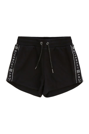 Givenchy Girl's Logo-Tape Drawstring Shorts, Size 4 Girl's Logo-Tape Drawstring Shorts, Size 6-10 Girl's Logo-Tape Drawstring Shorts, Size 12-14