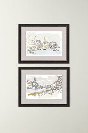 "Paragon Decors ""Walk Along The Bridge"" Art Print ""Italy Coast"" Art Print"