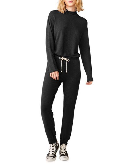 Monrow Super-soft Mock Neck Long-Sleeve Jumpsuit