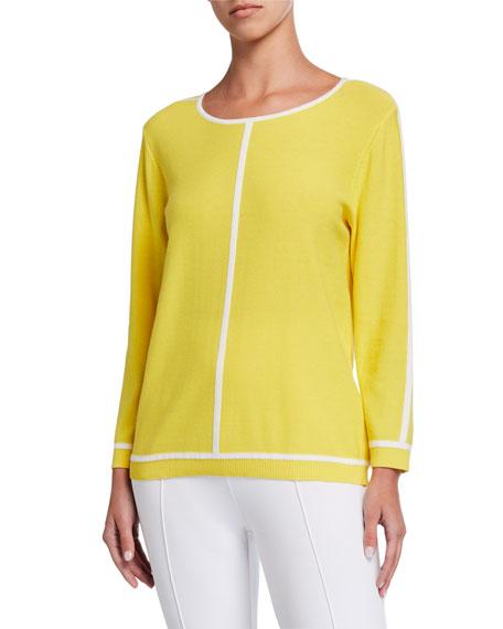 Joan Vass Classic Contrast Trim Sweater