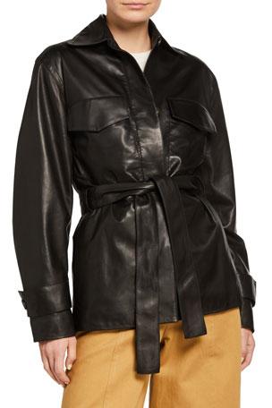 Vince Belted Leather Safari Jacket