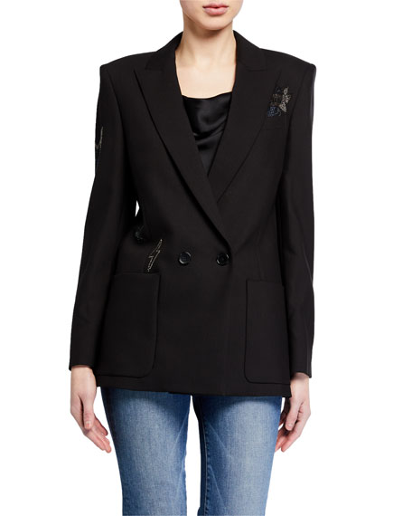 Image 1 of 4: Zadig & Voltaire Visko Rhinestone Double-Breasted Jacket