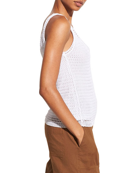 Image 4 of 5: Vince Crochet Scoop-Neck Tank Top