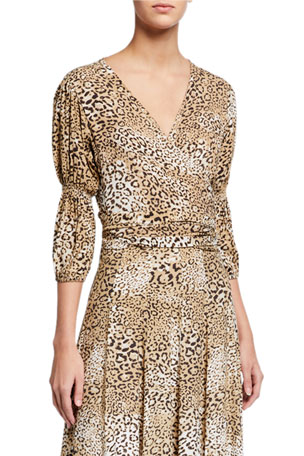Faithfull the Brand Bisset Leopard-Print Wrap Top