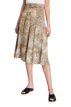 Faithfull the Brand Luda Leopard-Print Midi Skirt