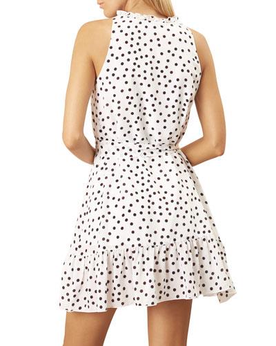 Ruffle-Neck Dot-Print Sleeveless Mini Dress