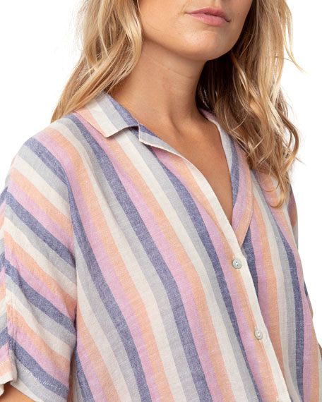 Rails Marley Tie-Front Striped Shirt