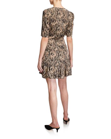 Veronica Beard Ried Snake-Print Short-Sleeve Flounce Dress