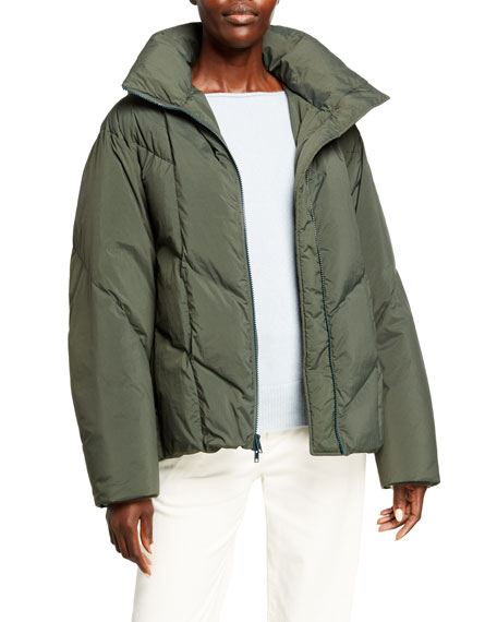 Vince Hooded Zip-Front Puffer Jacket