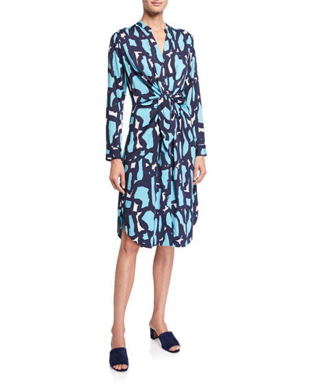 Image 1 of 3: NIC+ZOE Petite Vivid Giraffe Tie-Front Dress
