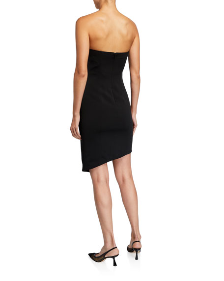 Jay Godfrey Warner Strapless Asymmetrical Dress w/ Button Detail