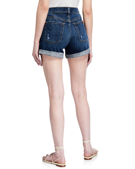7 For All Mankind Mid-Rise Rolled-Cuff Distressed Denim Shorts