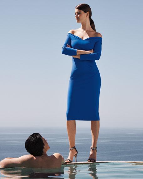 Chiara Boni La Petite Robe Suzie Off-the-Shoulder Long-Sleeve Shirred Dress
