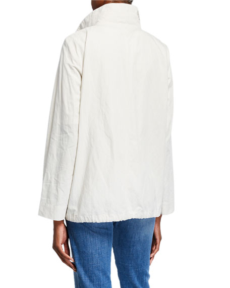Eileen Fisher Stand Collar Zip-Front Organic Cotton Jacket