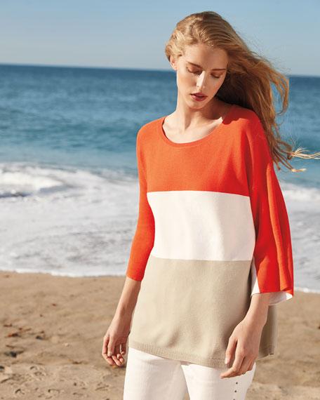 Joan Vass Colorblock Jersey Sweater