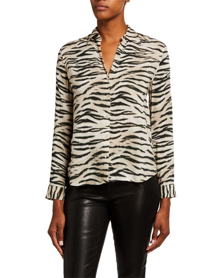 L'Agence Holly Animal-Print Long-Sleeve Blouse