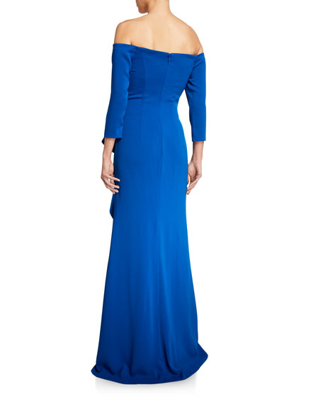 Image 3 of 3: Carmen Marc Valvo Infusion Off-the-Shoulder 3/4-Sleeve Asymmetric Side Ruffle Gown