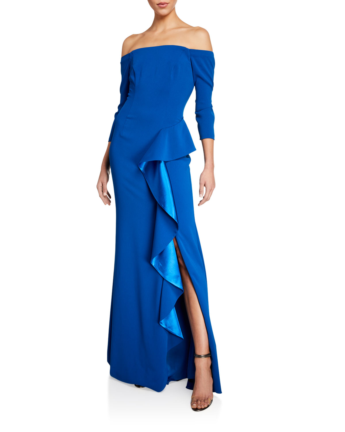 Carmen Marc Valvo Infusion Off-the-Shoulder 3/4-Sleeve Asymmetric Side Ruffle Gown