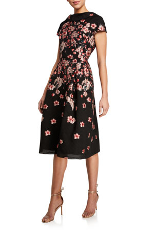 Rickie Freeman for Teri Jon Cap-Sleeve Floral Brocade A-Line Dress
