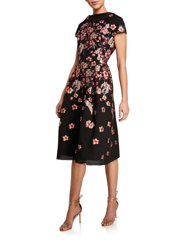 Rickie Freeman for Teri Jon Cap-Sleeve Floral Brocade A-Line Dress