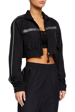 Adam Selman Sport Cropped Crystal Embellished Track Jacket