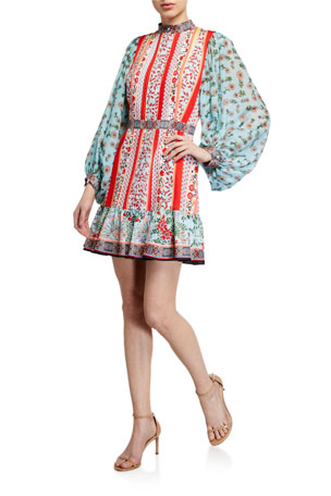 Alice + Olivia Raya Mandarin-Collar Dress