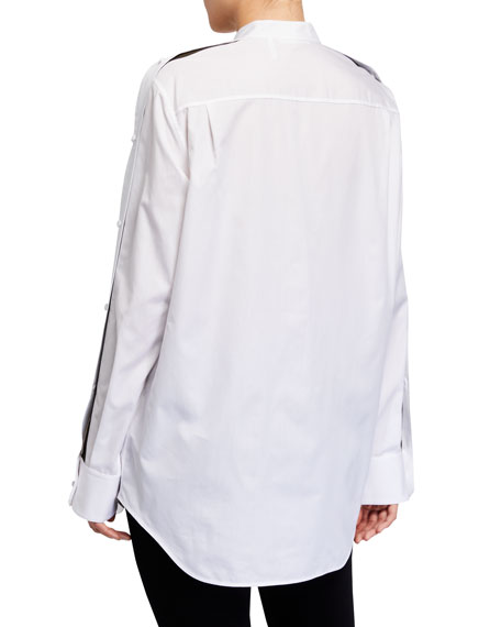 Image 3 of 4: Helmut Lang Open-Sleeve Button-Down Shirt