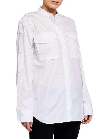 Image 4 of 4: Helmut Lang Open-Sleeve Button-Down Shirt
