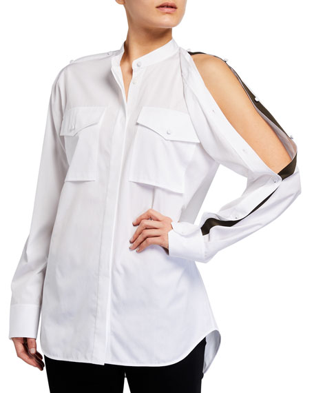 Image 1 of 4: Helmut Lang Open-Sleeve Button-Down Shirt