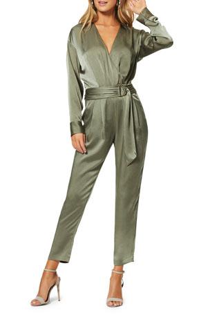 Velvet Jumpsuit Puffed Pleated Shoulders Deep Neckline Black /& Hunter Green.